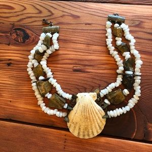 Shell and Rock Choker Style Necklace